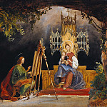 Julius Hübner - Saint Luke painting the Madonna