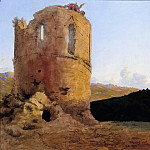 Ernst Ferdinand Oehme - Ruins of a tower with dragon