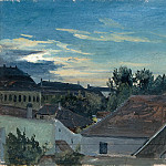 Carl Blechen - View over houses in the evening light