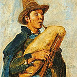 Carl Blechen - Pifferaro with bagpipes in hat