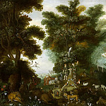 Jan Brueghel the Younger - Paradise landscape with Adam and Eve