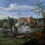 A river landscape with a view of the village, Jan Brueghel the Younger