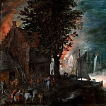 The fire in the village, Jan Brueghel the Younger