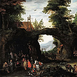 Landscape with the Catholic Mass in the grotto , Jan Brueghel the Younger