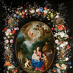 Jan Brueghel the Younger - The Holy Family with John the Baptist in the floral garland