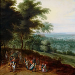 Landscape with dancing peasants and travelers, Jan Brueghel the Younger