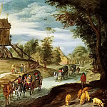 Jan Brueghel the Younger - Rural road with a mill