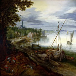 View of the Scheldt near Antwerp, Jan Brueghel the Younger