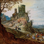 Port landscape with ruins, Jan Brueghel the Younger