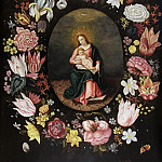 Jan Brueghel the Younger - Madonna and Child and the Holy Spirit in a frame of wreath of flowers