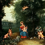 Jan Brueghel the Younger - Madonna and Child in a Landscape