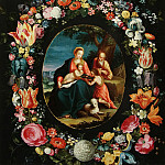 The Holy Family with John the Baptist in the floral garland, Jan Brueghel the Younger