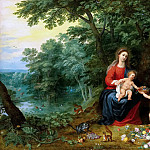 Jan Brueghel the Younger - Madonna and Child in a Landscape putti (together with Hendrick van Balen)