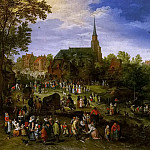 Jan Brueghel the Younger - A river landscape with fair