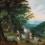 Jan Brueghel the Younger - A landscape with Saint Hubert