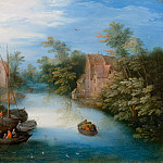 Jan Brueghel the Younger - A river landscape with ferry boat and figures