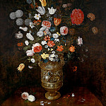 Flowers in a carved and gilded vase, Jan Brueghel the Younger