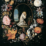 Jan Brueghel the Younger - St. Bernard of Clairvaux in the garland of flowers