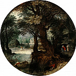 Jan Brueghel the Younger - Landscape (Farewell to Tobias with his mother)
