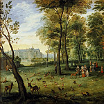 Jan Brueghel the Younger - видению Garden archdukes Albrecht and Isabella at the castle near Brussels Kudenberg