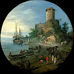 Coastal landscape with fishermen, Jan Brueghel the Younger