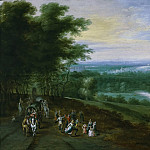 Jan Brueghel the Younger - River Landscape with Travellers and Peasants Dancing on a Path