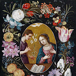 Jan Brueghel the Younger - Annunication to the Virgin within a wreath of flowers