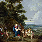 Jan Brueghel the Younger - The Holy Family with St. John as a boy, angels and a lamb