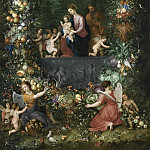 THE HOLY FAMILY WITHIN A GARLAND OF FRUIT, FLOWERS AND VEGETABLES HELD BY ANGELS, Jan Brueghel the Younger