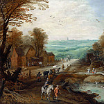 Jan Brueghel the Younger - AN AUTUMN LANDSCAPE WITH TRAVELLERS AND HERDSMEN ON A PATH