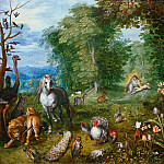 Landscape with the Creation of Eve, Jan Brueghel the Younger