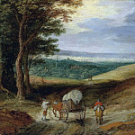 Jan Brueghel the Younger - Landscape with peasants and a wagon