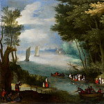 Jan Brueghel the Younger - A river landscape with sail boats