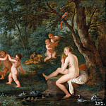 Jan Brueghel the Younger - Frolicking Putti with the Bath of Venus: an Allegory of Love