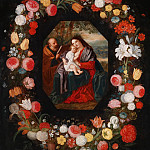 Holy Family in a flower garland, Jan Brueghel the Younger