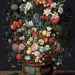Jan Brueghel the Younger - Lilies, irises, tulips, roses, orchids, primroses, peonies and in a vase decorated with the figures of Amphitrite and Ceres