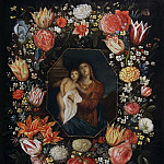 Jan Brueghel the Younger - Virgin and Child in a flower garland