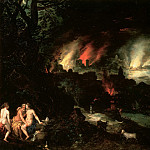 Lot and his daughters in front of Sodom and Gomorrah