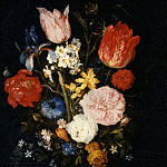 Flowers in a Glass Vase, Jan Brueghel The Elder