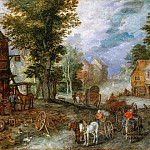 Landscape with a smithy, Jan Brueghel The Elder