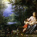 Jan Brueghel The Elder - Mary with Christ, John and Putti in a Landscape