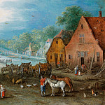 Canal landscape with two workshops at the banks, Jan Brueghel The Elder