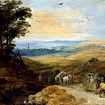 Landscape with travelers, Jan Brueghel The Elder