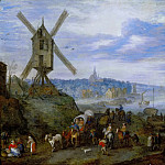 Jan Brueghel The Elder - Seaport with Windmill