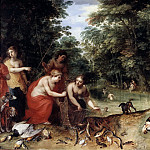 Nymphs of Diana after the fishing and hunting, Jan Brueghel The Elder
