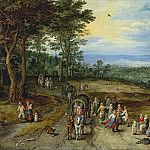Jan Brueghel The Elder - Landscape with Travellers and Peasants on a Track