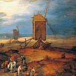 Landscape with windmills, Jan Brueghel The Elder
