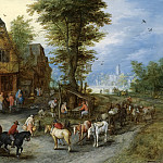 Jan Brueghel The Elder - A Village Landscape With Horses, Carts And Figures Before Cottages