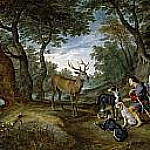 La visión de San Huberto, Jan Brueghel The Elder