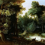 Jan Brueghel The Elder - Forest Landscape with hunter